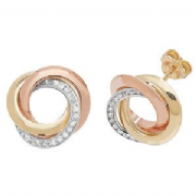 9ct three colour gold interlinked hoop stud earrings